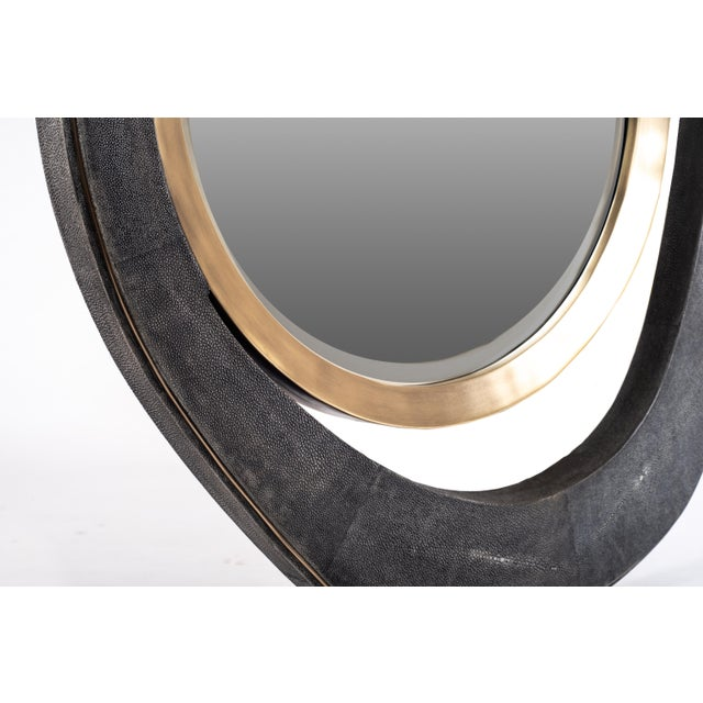 """R & Y Augousti Large """"Peacock"""" Mirror in Black Shagreen and Bronze-Patina Brass by R&y Augousti For Sale - Image 4 of 5"""