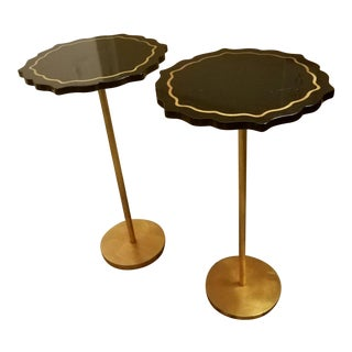 Chelsea House Lapis Black Lacquer & Gold Side Tables - a Pair