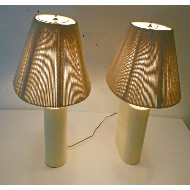 Karl Springer Tessellated Bone Lamps With Original Rope Shades - A Pair For Sale - Image 10 of 11