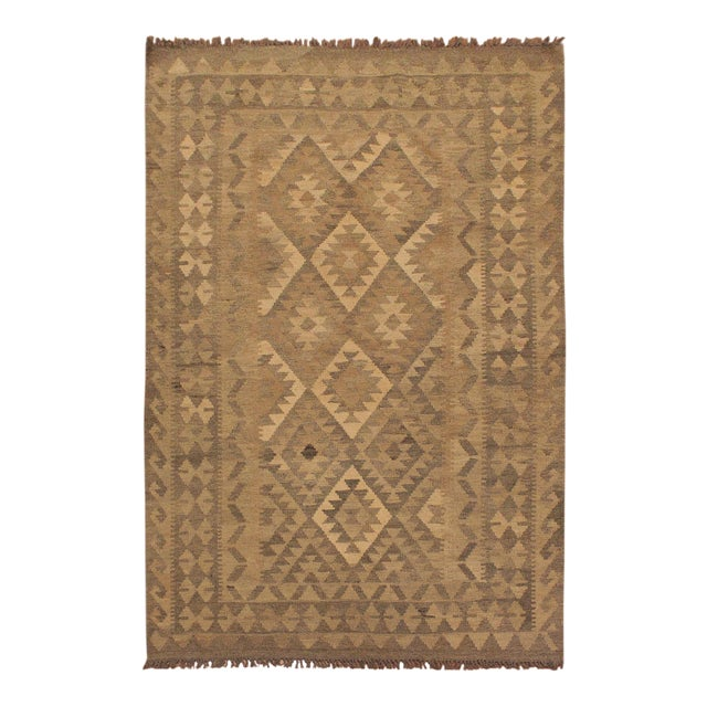 Uriela Gray/Brown Hand-Woven Kilim Wool Rug -4'3 X 5'10 For Sale