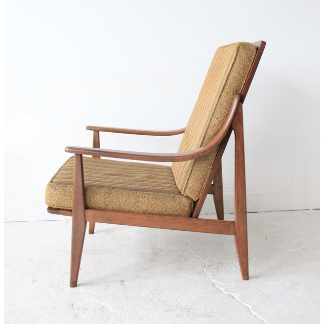 Vintage Mid Century Striped High Back Lounge Chair - Image 5 of 6