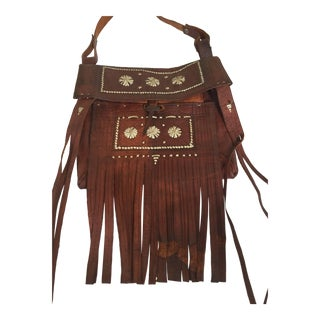 Moroccan Crossbody Leather Handcrafted African Tuareg Bag With Fringes For Sale