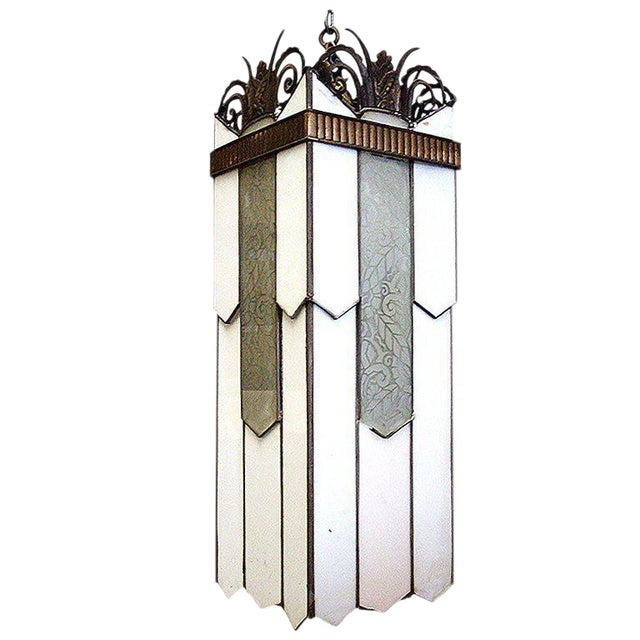 Large Art Deco Geometric Leaded Glass Chandelier with Scrolling Top - Image 1 of 4