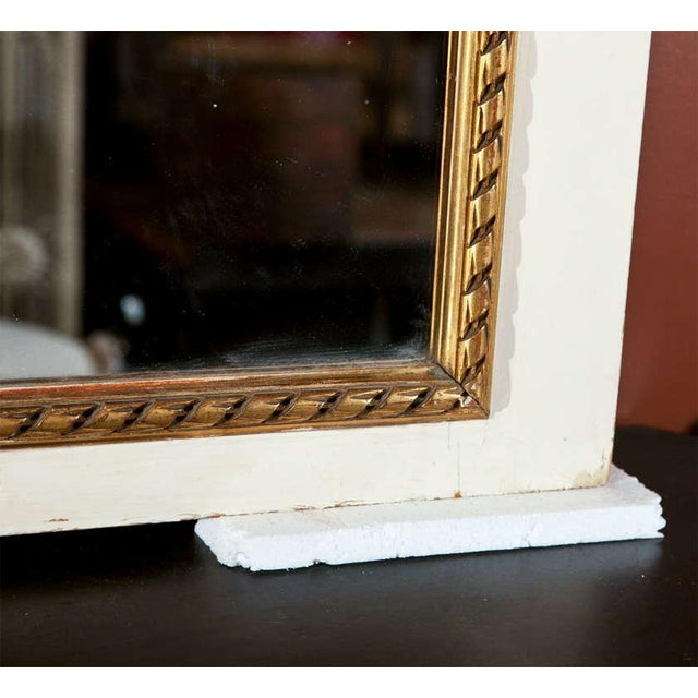 White Painted & Parcel-Gilt French Trumeau Mirror For Sale - Image 9 of 10