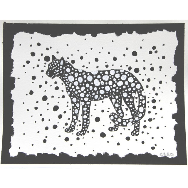 2020s Leopard Cheetah Black & White Painting by Cleo Plowden For Sale - Image 5 of 5