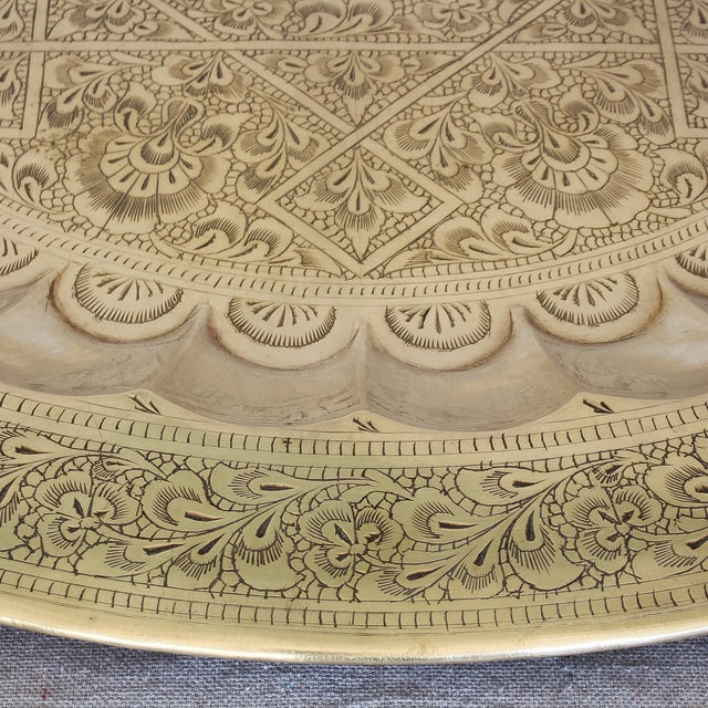 Vintage Persian Engraved Brass Tray For Sale - Image 5 of 6
