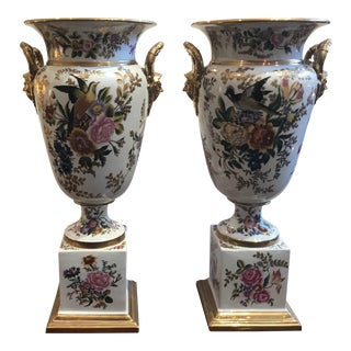 Large Hand-Painted Paris Style Porcelain Urns - a Pair