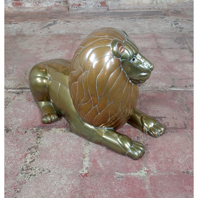 Metal Sergio Bustamante Resting Lion Brass & Copper Sculpture For Sale - Image 7 of 11