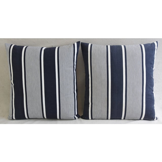 """Custom French Stripe Ticking Fabric Feather & Down Pillows 22"""" X 21"""" - a Pair - Image 3 of 11"""