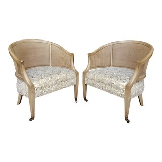 Vintage 1970's Mahogany & Cane Barrel Chairs- a Pair For Sale