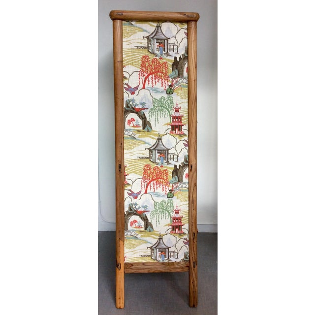 Retro Chinese Upholstered Armoire - Image 3 of 10