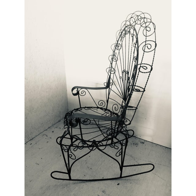 John Salterini Wrought Iron Peacock Rocking Chair For Sale - Image 4 of 11
