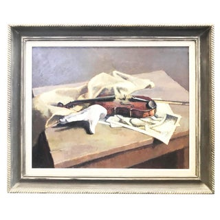 Vintage Mid-Century Caddell Violin and Hand Oil Painting For Sale