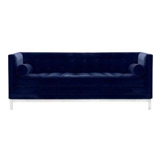 Jonathan Adler Lampert Venice Navy Velvet Tufted Tuxedo Bolster Sofa (Upgraded Fabric)