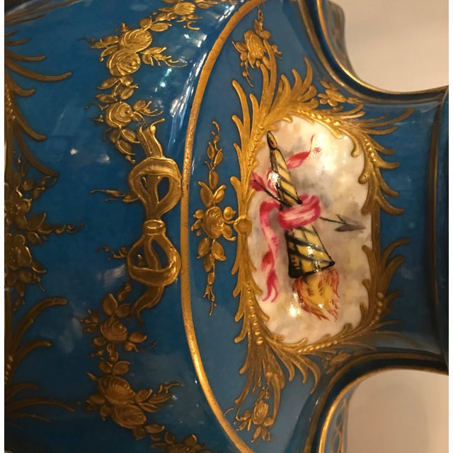 A Pair of Antique French Hand Painted Porcelain Mantle Urns For Sale - Image 11 of 13