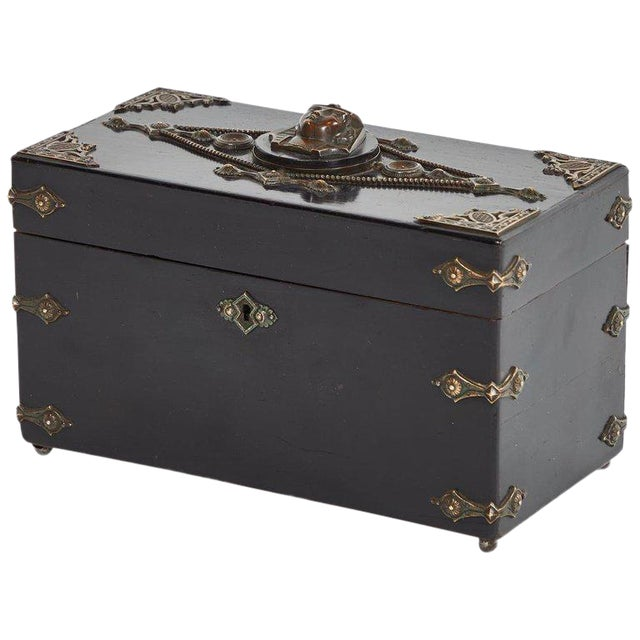 French Ebonzied and Decorated Box For Sale