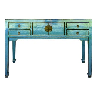 Oriental Rustic Teal Blue Lacquer Drawers Slim Foyer Side Table B For Sale
