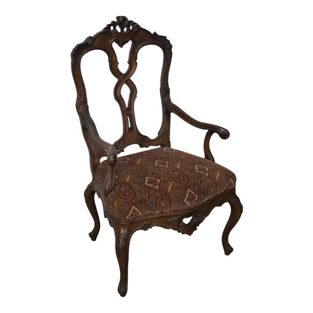 Rococo Style Carved Arm Chair - Image 1 of 11