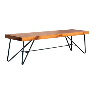 Custom Organic Modern Tiger Wood and Steel Bench with Hairpin Legs For Sale