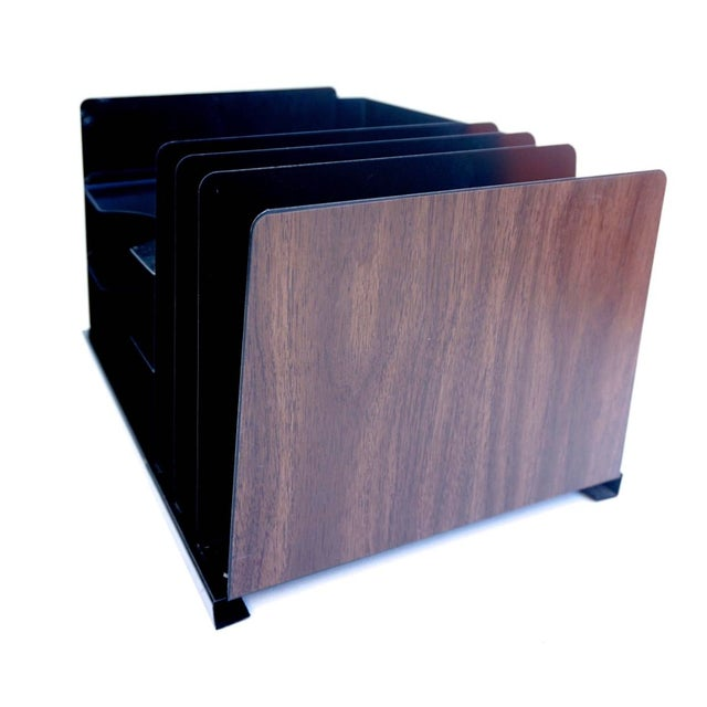 Mid-Century Industrial Steelcase Faux Bois Desk Organizer File Rack Mail Sorter - Image 3 of 6