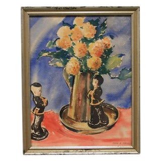 """""""Asian Figurines & Flowers"""" Watercolor Painting For Sale"""