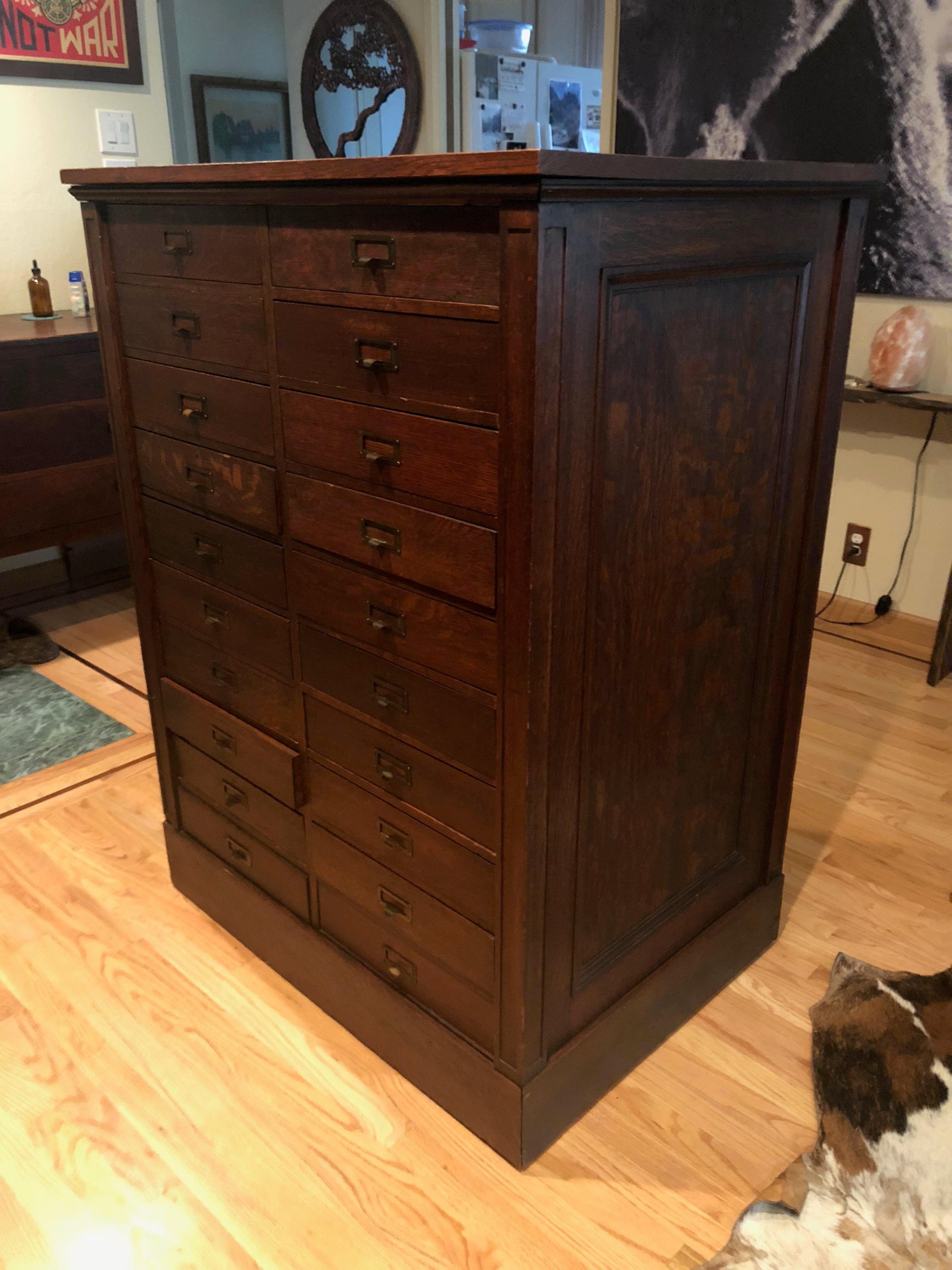 Antique Oak San Francisco City Tax Filing Cabinet   Image 5 Of 11