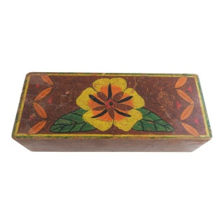 Hand Painted Folk Art Box For Sale