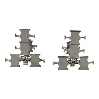 Rosette Bir (1926-1993), Pair of Steel Andirons, Circa 1970. For Sale