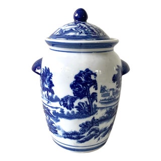 Old Blue and White China Canister Ginger Jar For Sale