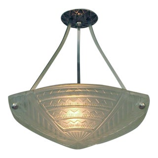 1920s Signed Noverdy French Art Deco Three-Sided Frosted Lighting Bowl For Sale