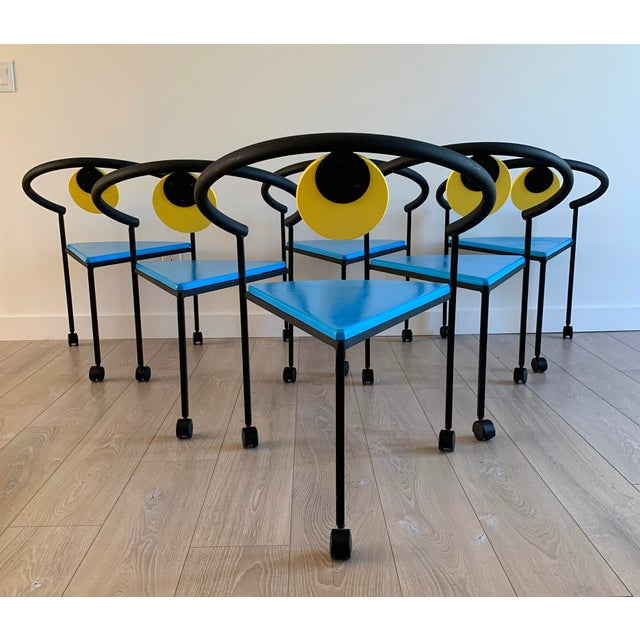 An eye-popping gorgeous set of 6 Memphis Milano style dining chairs from the 1990's! These vintage chairs are in great...