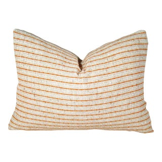 Boho Chic Handwoven Orange and White Striped Linen Pillow Cover For Sale