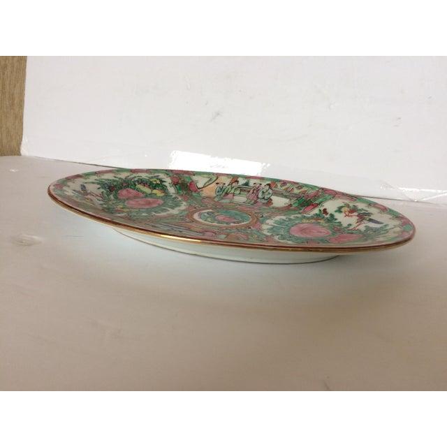 Asian Rose Medallion Oval Serving Dish For Sale - Image 3 of 6