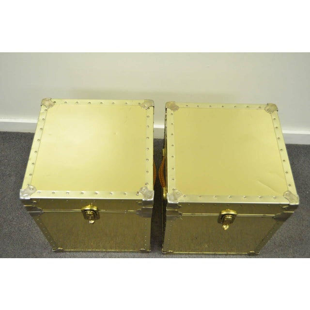 1970s 1970s Hollywood Regency Brass Clad Trunks Chest Side Tables - a Pair For Sale - Image 5 of 11