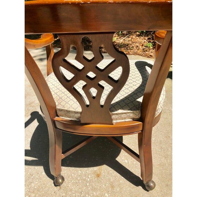 Mid 20th Century Drexel Heritage Chippendale Horseshoe Dining Chairs on Casters- Set of 4 For Sale - Image 5 of 13