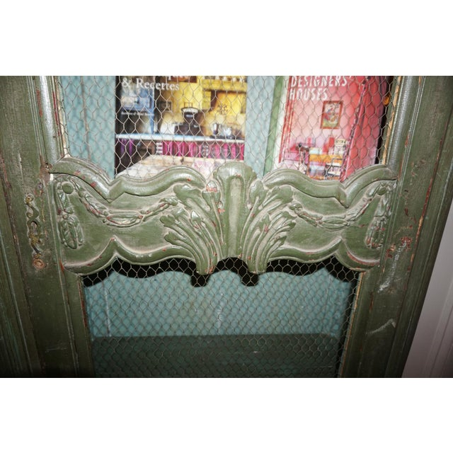 19th Century French Chicken Wire Painted Bookcase For Sale - Image 4 of 12