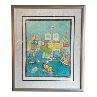 1950s Nautical Landscape Print by Paul Aïzpiri, Framed For Sale