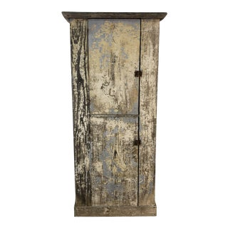 Rustic Farmhouse Tall Double Door Painted Cupboard For Sale
