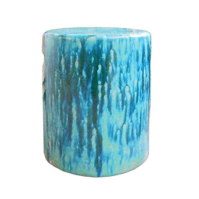 Ceramic Turquoise Green Round Garden Stool - Image 1 of 6