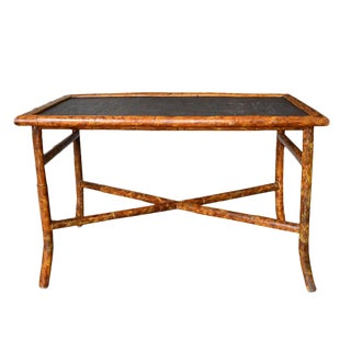 Hollywood Regency Rectangular Scorched or Tortoise Bamboo and Cane Coffee Table For Sale