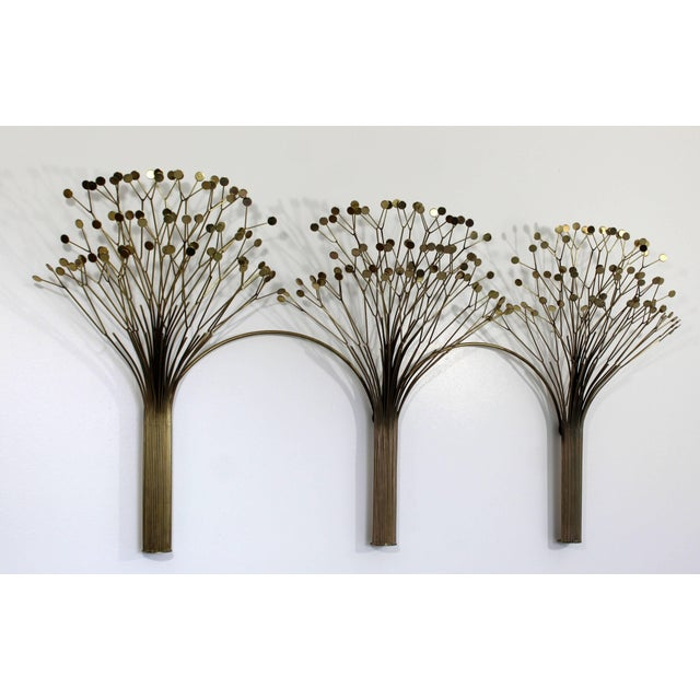 Brass 1970s Mid-Century Modern Brass Three Tree Wall Sculpture by Curtis Jere For Sale - Image 7 of 7