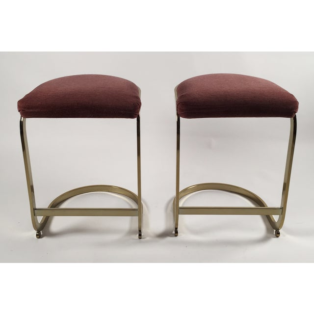 Hollywood Regency Milo Baughman Style Cantilever Bar Stools - A Pair For Sale - Image 3 of 7