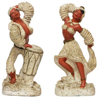 Pair of 1955 Cuban Chalk Ware Statue 50th Anniversary Sale For Sale
