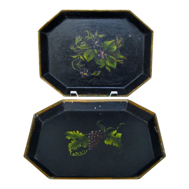 Vintage Small Tole Trays, a Pair For Sale