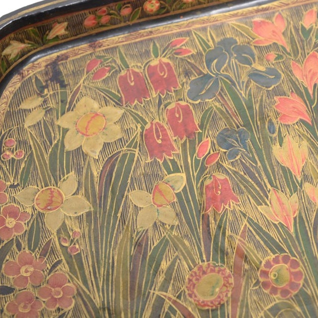 Hand Painted Floral Kashmiri Decorative Tray - Image 2 of 4
