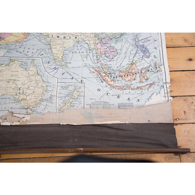 Asian Vintage Cram's Pull Down Map of Asia and Australia For Sale - Image 3 of 5