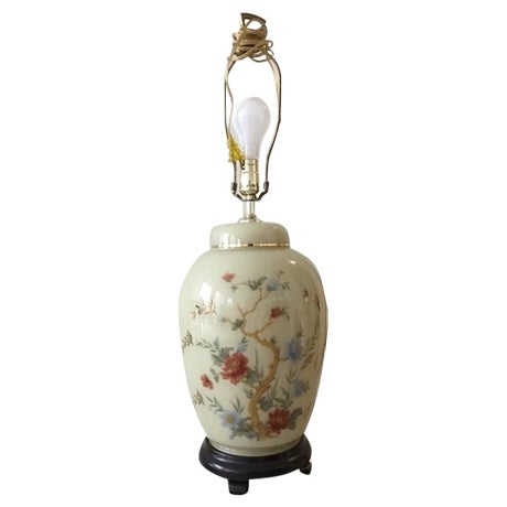 Asian Branch & Floral Table Lamp - Image 1 of 3