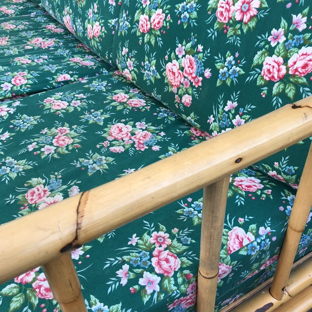 Bamboo Chintz Green Upholstered Sleeper Sofa - Image 2 of 5