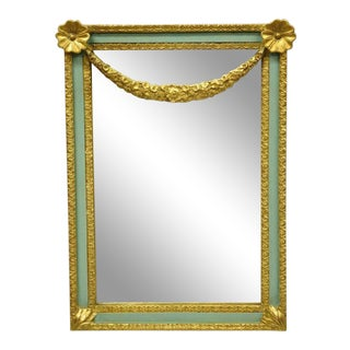 Carvers Guild Italian Green Gold Giltwood Wall Mirror For Sale