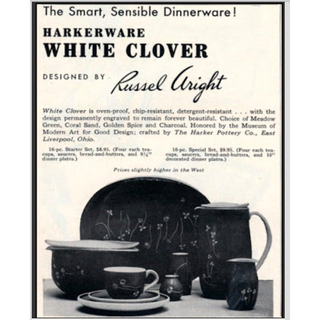 Russel Wright for Harker Mid-Century White Clover Serving Platters Dishes - Set of 3 For Sale - Image 12 of 13